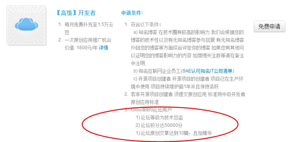 cloudbbs论坛渠道申请SAE高级开发者认证